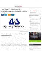 Aguilar y Salas S.A., Europa Press, Noviembre 2016 - Agencia de comunicación España, Agencia de comunicación Portugal, Agencia de comunicación Barcelona